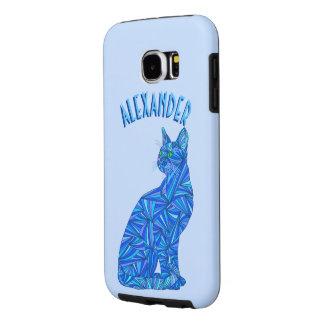 Blue Sitting Cat Feline Cat Lover Samsung Galaxy S6 Case