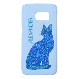 Blue Sitting Cat Feline Cat Lover Samsung Galaxy S7 Case