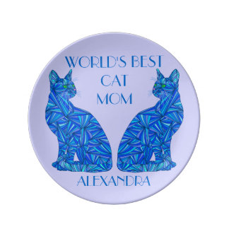 Blue Sitting Cat Personalized Best Cat Mom Plate