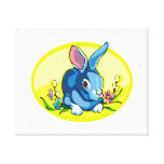 blue sitting rabbit flowers yellow oval.png canvas print