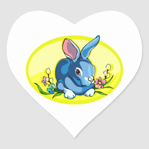blue sitting rabbit flowers yellow oval.png sticker