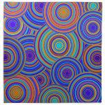 Blue Sixties Circles Pattern Cloth Napkins