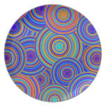 Blue Sixties Circles Pattern Dinner Plate