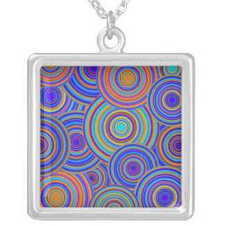 Blue Sixties Circles Pattern Necklaces