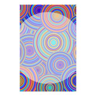 Blue Sixties Circles Pattern Custom Stationery