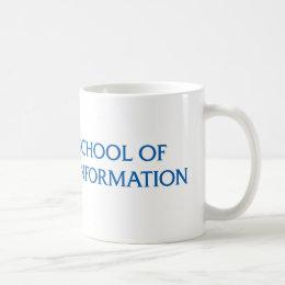 Blue SJSU iSchool logo mug