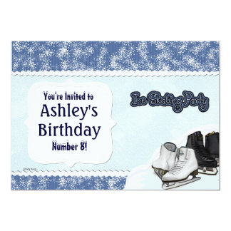 Blue Skate Party 5x7 Paper Invitation Card