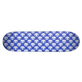 Blue Skatedeck with White Toon Skulls Skateboard Deck