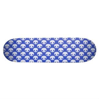 Blue Skatedeck with White Toon Skulls Skateboard Deck