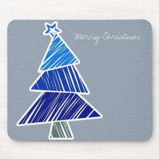 Blue Sketchy Christmas Tree Mousepad