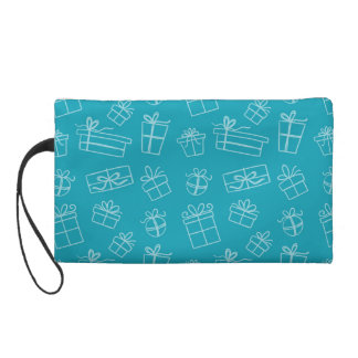 Blue Sketchy Gift Pattern Wristlet Purses