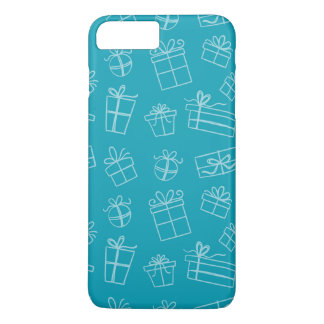 Blue Sketchy Gift Pattern iPhone 8 Plus/7 Plus Case