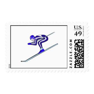 Blue Ski Fast Postage Stamp
