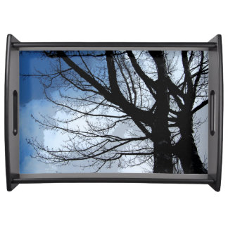 Blue Skies and Alder Tree Art Black Service Tray