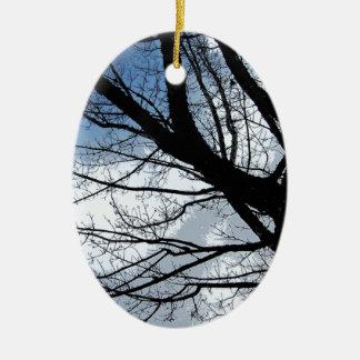 Blue Skies and Alder Tree Art Ceramic Ornament