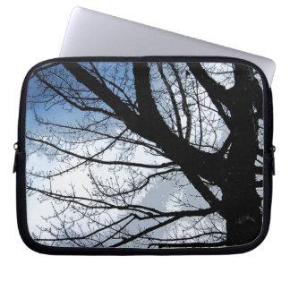 Blue Skies and Alder Tree Art Laptop Computer Sleeves
