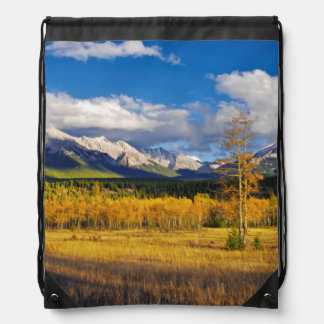 Blue skies and clouds above a meadow drawstring backpack