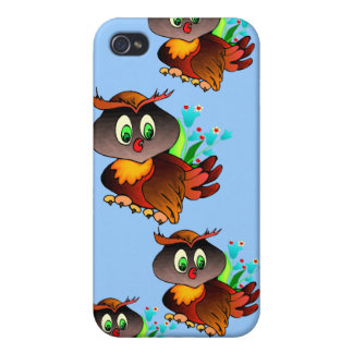 Blue skies and happy wise owls iPhone 4 cover