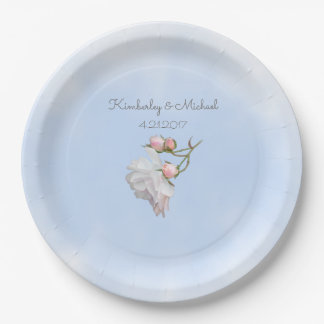 Blue Skies and Roses 9 inch Paper Party Plates