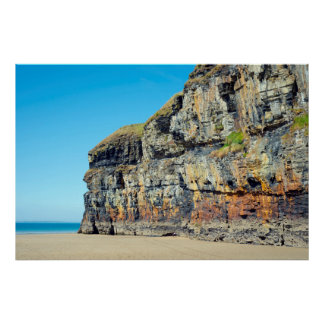 blue skies and sea at ballybunion cliffs poster