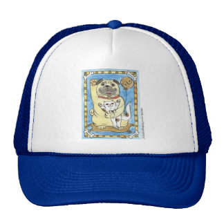 Blue Skies and The Good Fortune Pug Trucker Hats