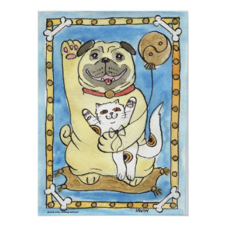 Blue Skies and The Good Fortune Pug Print