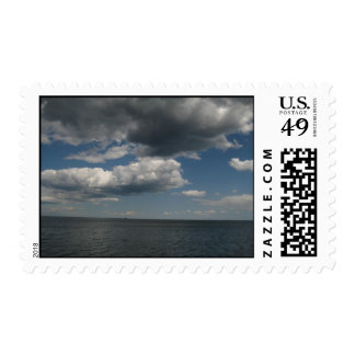 blue skies, chance of cloudy stamp