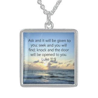 BLUE SKIES LUKE 11:9 OCEAN PHOTO DESIGN STERLING SILVER NECKLACE