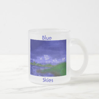Blue Skies Morning Frosted Glass Coffee Mug