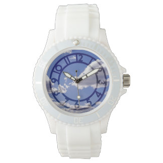 Blue Skies Puffy Clouds White Silicone Watch