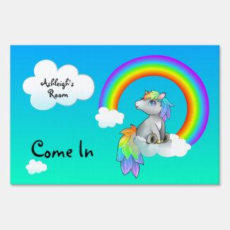 Blue Skies Rainbow Stars Unicorn Customizable sign