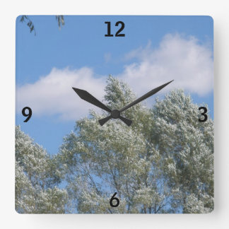 Blue Skies, White Clouds, and Snowy Trees Square Wall Clock
