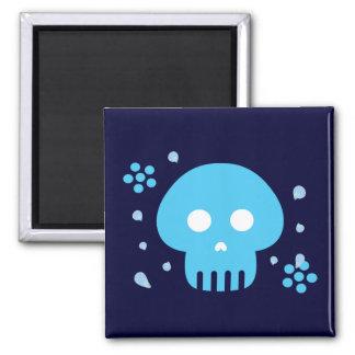 Blue Skull 2 Inch Square Magnet