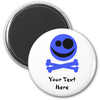 Blue Skull and Crossbones. 2 Inch Round Magnet