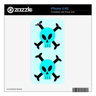 Blue Skull And Crossbones Apple iPhone 4 Skin