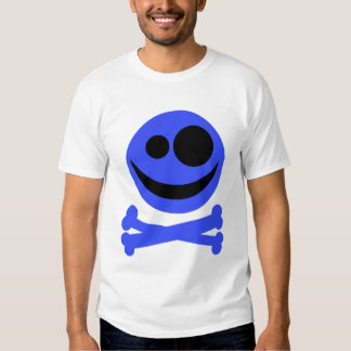 Blue Skull and Crossbones. T-Shirt
