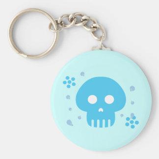 Blue Skull Basic Round Button Keychain