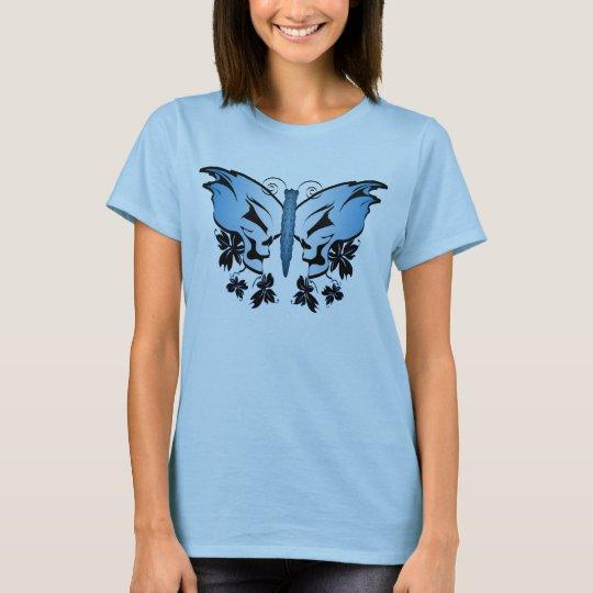 Blue Skull Butterfly T-Shirt
