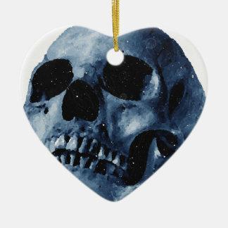 Blue Skull Ceramic Ornament