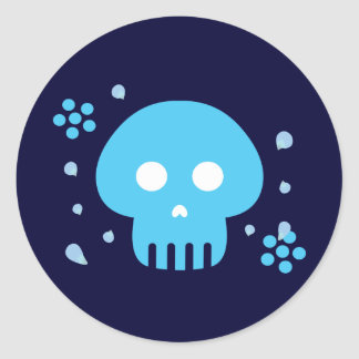 Blue Skull Classic Round Sticker