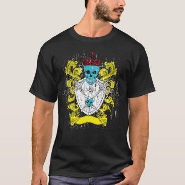 Halloween Themed Blue Skull Coat of Arms T-Shirt