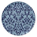 Blue skull damask pattern melamine plate
