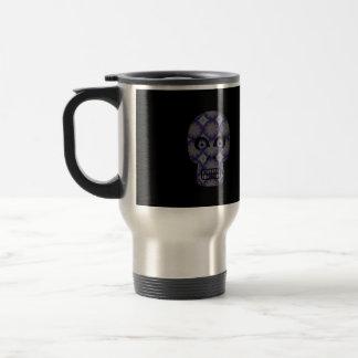Blue Skull Fractal Pattern Coffee Mugs