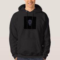 Blue Skull Fractal Pattern Hoodie