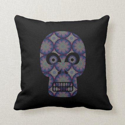 Blue Skull Fractal Pattern Pillows