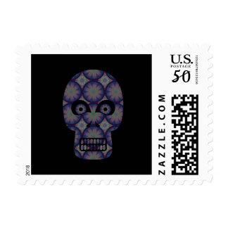 Blue Skull Fractal Pattern Postage