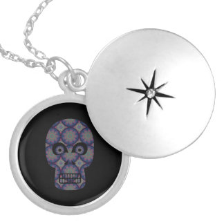 Blue Skull Fractal Pattern Round Locket Necklace