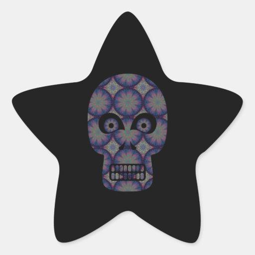 Blue Skull Fractal Pattern Star Sticker