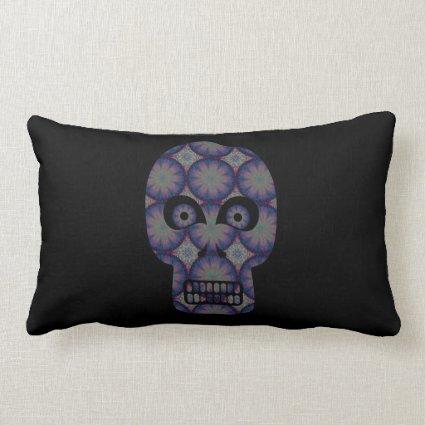 Blue Skull Fractal Pattern Throw Pillows