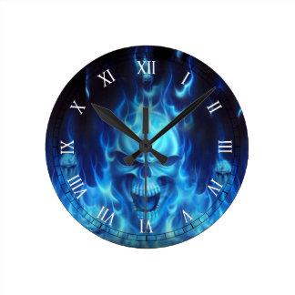 blue skull head with flames wallclocks